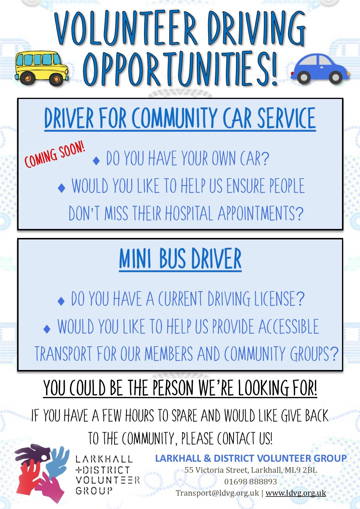 Volunteer Driver Poster Feb 2019